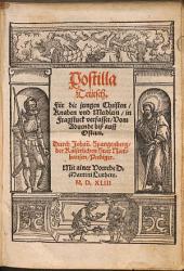 Postilla Teütsch: Für die jungen Christen, Knaben vnd Meidlein, in Fragstuck verfasset. Vom Aduent biß auff Ostern. 1