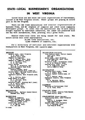 State local Businessmen s Organizations  West Virginia PDF