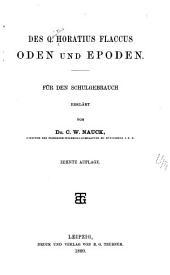 Des Q. Horatius Flaccus Oden und epoden