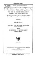 The Use of Social Research in Federal Domestic Programs
