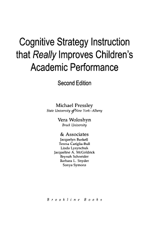Cognitive Strategy Instruction that Really Improves Children s Academic Performance PDF
