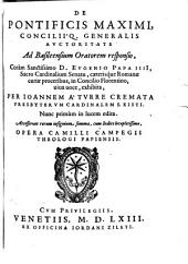 De pontificis maximi consiliique generalis auctoritate: ad Basileensium oratorem responsio