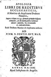 Apologia libri de reditibus ecclesiasticis ... adversus N. in nonnullis ei contradicentem