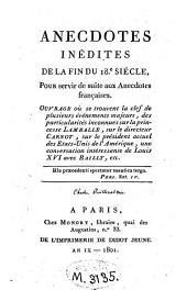 Anecdotes inédites de la fin du XVIIIe siècle