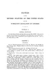 Notes on the Revised Statutes of the United States and the Subsequent Legislation of Congress: Volume 1