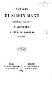 Notizie di Simon Mago, tratte dai cosi detti Filosofumeni [of Hippolytus? or Origen?].