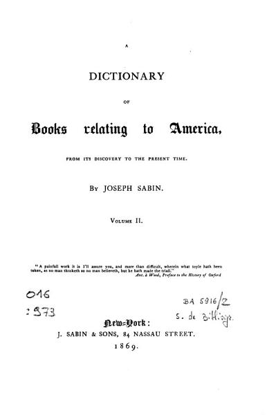 Download A Dictionary of Books Relating to America Book