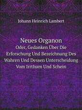 Neues Organon: Band 1