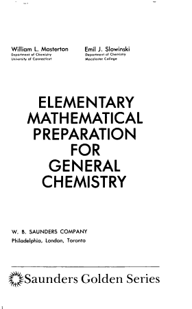 Elementary Mathematical Preparation for General Chemistry PDF