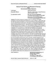 National Forest System Land Management Planning: Environmental Impact Statement
