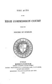 The Acts of High Commission Court Within the Diocese of Durham