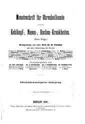 Monatsschrift für Ohrenheilkunde und Laryngo-Rhinologie: Bände 25-26