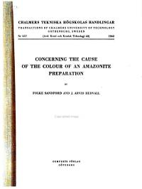 Concerning the Cause of the Colour of an Amazonite Preparation  by Folke Sandford and J  Arvid Hedvall