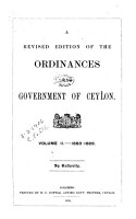 A Revised Edition of the Ordinances of the Government of Ceylon      1883 89 PDF