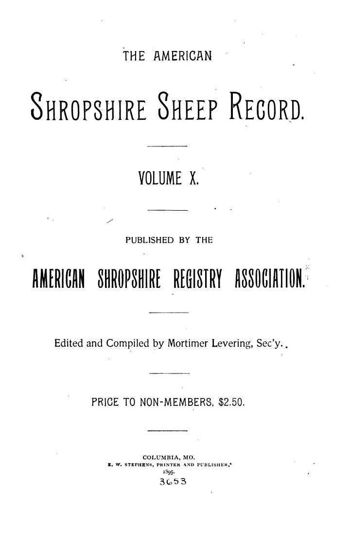 The American Shropshire Sheep Record