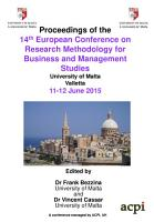 ECRM2015 Proceedings of the 14th European Conference on Research Methods 2015 PDF