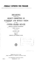 Hearings  Reports and Prints of the Senate Select Committee on Nutrition and Human Needs PDF