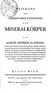 Beiträge zur chemischen Kenntniss der Mineralkörper: Band 1