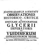 Observationes historico-criticae in epistolam autographam Glycerii Imperatoris ad Widimerum Ostrogothorum regem