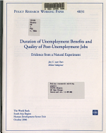 Duration of Unemployment Benefits and Quality of Post unemployment Jobs PDF