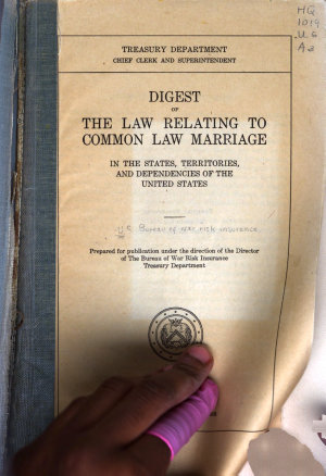 Digest of the Law Relating to Common Law Marriage in the States  Territories  and Dependencies of the United States PDF