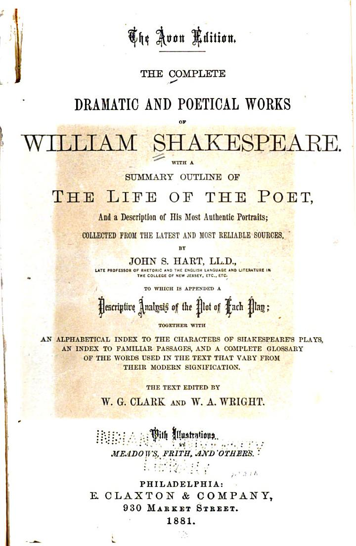 The Complete Dramatic and Poetical Works of William Shekespeare