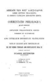Arriani tōn met' Alexandron: libri septimi fragmenta e codice Vaticano rescripto edita