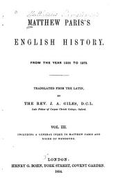 Matthew Paris's English History: From the Year 1235 to 1273, Volume 3