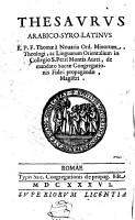 Thesaurus arabico syro latinus PDF