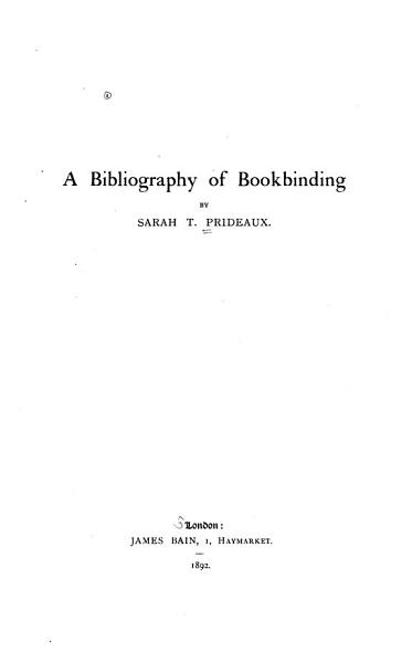 Download A Bibliography of Bookbinding Book