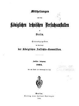 Mitteilungen aus dem Materialprufungsamt und dem Kaiser Wilhelm Institut fur Metallforschung zu Berlin Dahlem PDF