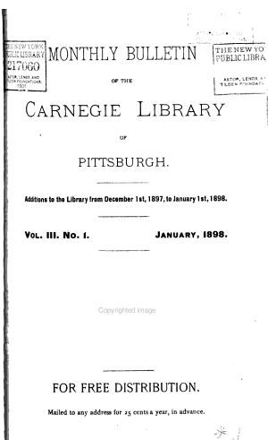 Monthly Bulletin of the Carnegie Library of Pittsburgh PDF