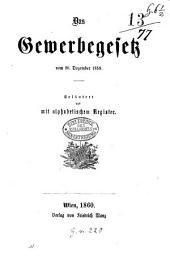 Das Gewerbegesetz vom 20. Dezember 1859: Erl. und mit alphabetischem Register