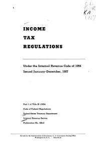 Income Tax Regulations  Under the Internal Revenue Code of 1954 PDF
