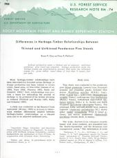 Differences in Herbage-timber Relationships Between Thinned and Unthinned Ponderosa Pine Stands