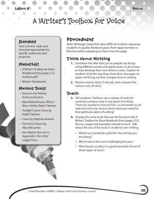 Writing Lesson Level 6  A Writer s Toolbox for Voice PDF