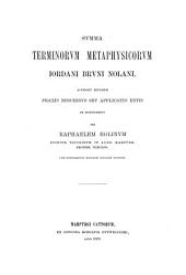 Jordani Bruni Nolani opera latine conscripta publicis sumptibus edita: Volume 1