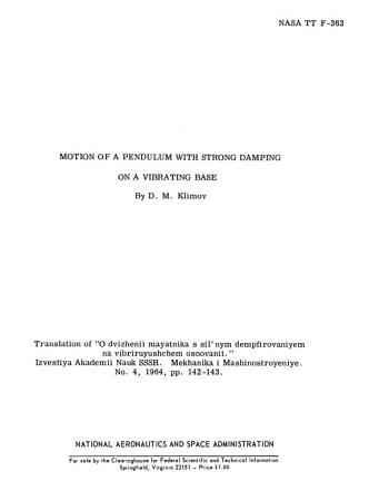 Motion of a Pendulum with Strong Damping on a Vibrating Base PDF