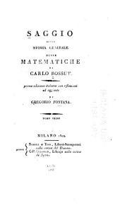 Saggio sulla storia generale delle matematiche: Volume 1