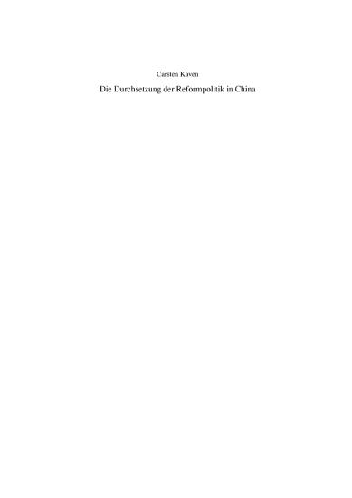 Die Durchsetzung der Reformpolitik in China PDF
