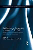 Re Constructing Communities in Europe  1918 1968 PDF