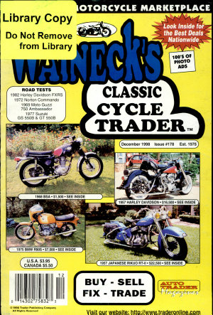 WALNECK S CLASSIC CYCLE TRADER  DECEMBER 1998 PDF