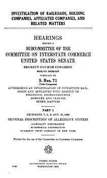 Investigations of Railroads  Holding Companies  and Affiliated Companies  and Related Matters PDF