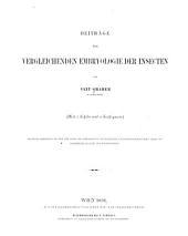 Beiträge zur vergleichenden embryologie der insecten: Band 58
