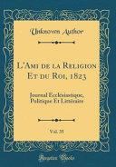 Lami De La Religion Et Du Roi 1823 Vol 35