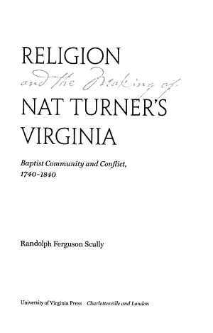 Religion and the Making of Nat Turner's Virginia