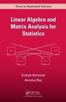 Linear Algebra and Matrix Analysis for Statistics PDF