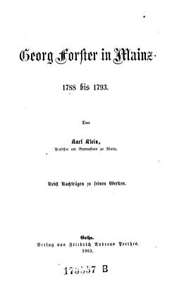 Georg Forster in Mainz 1788 1793 PDF