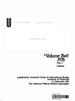 UNITED STATES POLITICAL SCIENCE DOCUMENTS Volume Two 1976 Part 1 Indexes PDF