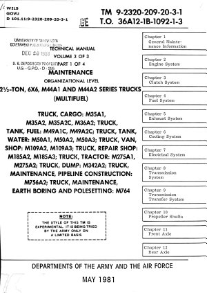 2 1/2 Ton, 6X6, M44A1 and M44A2 Series Trucks (multifuel)